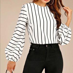 Striped bishop sleeve keyhole back blouse